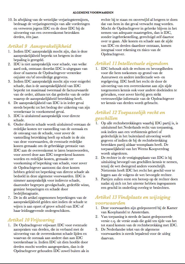 Algemene voorwaarden IDC 6
